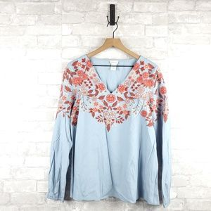 Sundance embroidered long sleeve blouse | Size M